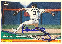 Xavier Hernandez Houston Astros 1994 Topps Autographed Card. This item comes with a certificate of authenticity from Autograph-Sports. PSM-Powers Sports Memorabilia