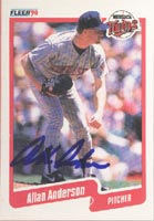 Allan Anderson Minnesota Twins 1990 Fleer Autographed Card. This item comes with a certificate of authenticity from Autograph-Sports. PSM-Powers Sports Memorabilia