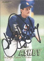 Andy Ashby San Diego Padres 1997 Fleer Autographed Card. This item comes with a certificate of authenticity from Autograph-Sports. PSM-Powers Sports Memorabilia