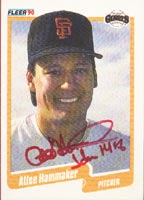 Atlee Hammaker San Francisco Giants 1990 Fleer Autographed Card. This item comes with a certificate of authenticity from Autograph-Sports. PSM-Powers Sports Memorabilia
