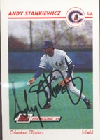 Andy Stankiewicz Columbus Clippers - Yankees Affiliate 1991 Line Drive Pre-Rookie Autographed Card - Minor League Card. This item comes with a certificate of authenticity from Autograph-Sports.-Powers Sports Memorabilia