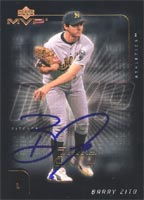 Barry Zito Oakland Athletics 2002 Upper Deck MVP Autographed Card. This item comes with a certificate of authenticity from Autograph-Sports. PSM-Powers Sports Memorabilia