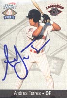 Andres Torres Jamestown Jammers - Tigers Affiliate 1999 Team Best Rookie Autographed Card - Minor League Card. This item comes with a certificate of authenticity from Autograph-Sports. PSM-Powers Sports Memorabilia