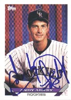 Andy Ashby Colorado Rockies 1993 Topps Autographed Card. This item comes with a certificate of authenticity from Autograph-Sports. PSM-Powers Sports Memorabilia