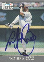 Andy Benes San Diego Padres 1991 Fleer Ultra Autographed Card. This item comes with a certificate of authenticity from Autograph-Sports. PSM-Powers Sports Memorabilia