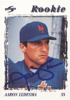Aaron Ledesma New York Mets 1996 Score Rookie Autographed Card - Rookie Card. This item comes with a certificate of authenticity from Autograph-Sports. PSM-Powers Sports Memorabilia