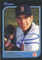 Carl Pavano Boston Red Sox 1997 Bowman Autographed Card - Rookie Card - Light signature. This item comes with a certificate of authenticity from Autograph-Sports. PSM-Powers Sports Memorabilia