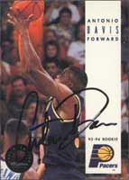 Antonio Davis Indiana Pacers 1994 Skybox Autographed Card. This item comes with a certificate of authenticity from Autograph-Sports. PSM-Powers Sports Memorabilia