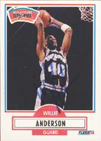 Willie Anderson San Antonio Spurs 1990 Fleer Autographed Card. This item comes with a certificate of authenticity from Autograph-Sports. PSM-Powers Sports Memorabilia