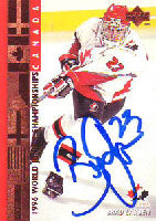 Brad Larsen Team Canada 1996 UD World Junior Champs Autographed Card. This item comes with a certificate of authenticity from Autograph-Sports. PSM-Powers Sports Memorabilia
