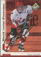Cory Sarich Team Canada 1996 Upper Deck Choice World Juniors Autographed Card. This item comes with a certificate of authenticity from Autograph-Sports. PSM-Powers Sports Memorabilia