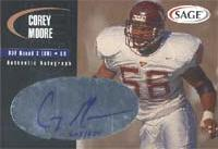 Corey Moore Virginia Tech Hokies - Buffalo Bills 2000 SAGE Authentic Autograph Autographed Card - Certified Autograph - Rookie Card. This item comes with a certificate of authenticity from Autograph-Sports. PSM-Powers Sports Memorabilia