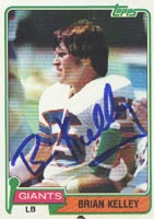 Brian Kelley New York Giants 1981 Topps Autographed Card. This item comes with a certificate of authenticity from Autograph-Sports. PSM-Powers Sports Memorabilia