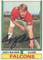 Andy Maurer Atlanta Falcons 1971 Topps Autographed Card. This item comes with a certificate of authenticity from Autograph-Sports. PSM-Powers Sports Memorabilia