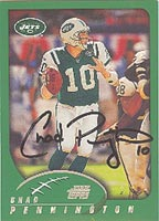 Chad Pennington New York Jets 2002 Topps Autographed Card - Nice Autograph. This item comes with a certificate of authenticity from Autograph-Sports. PSM-Powers Sports Memorabilia