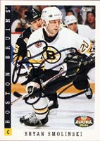 Bryan Smolinski Boston Bruins 1993 Score Rookie Autographed Card - Rookie Card. This item comes with a certificate of authenticity from Autograph-Sports. PSM-Powers Sports Memorabilia