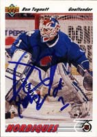 Ron Tugnutt Quebec Nordiques 1992 Upper Deck Autographed Card. This item comes with a certificate of authenticity from Autograph-Sports. PSM-Powers Sports Memorabilia