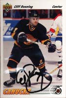 Cliff Ronning Vancouver Canucks 1992 Upper Deck Autographed Card. This item comes with a certificate of authenticity from Autograph-Sports. PSM-Powers Sports Memorabilia