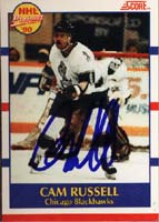 Cam Russell Chicago Blackhawks 1990 Score NHL Prospects Autographed Card - Rookie Card. This item comes with a certificate of authenticity from Autograph-Sports. PSM-Powers Sports Memorabilia