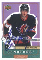 Chris Phillips Ottawa Senators 1999 Upper Deck Retro Autographed Card. This item comes with a certificate of authenticity from Autograph-Sports. PSM-Powers Sports Memorabilia