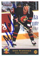 Andy Schneider Prince Edward Island Senators - Ottawa Senators 1994 Classic Prospects Autographed Card - Rookie Card. This item comes with a certificate of authenticity from Autograph-Sports. PSM-Powers Sports Memorabilia