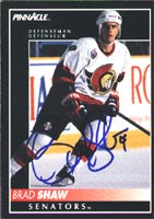 Brad Shaw Ottawa Senators 1992 Pinnacle Autographed Card. This item comes with a certificate of authenticity from Autograph-Sports. PSM-Powers Sports Memorabilia