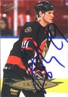Alexei Yashin Ottawa Senators 1996 Fleer Ultra Autographed Card. This item comes with a certificate of authenticity from Autograph-Sports. PSM-Powers Sports Memorabilia