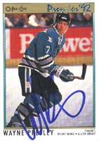 Wayne Presley San Jose Sharks 1992 Opee Chee Premier Autographed Card. This item comes with a certificate of authenticity from Autograph-Sports. PSM-Powers Sports Memorabilia