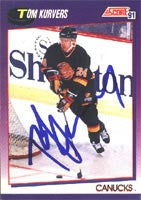 Tom Kurvers Vancouver Canucks 1991 Score Autographed Card. This item comes with a certificate of authenticity from Autograph-Sports.-Powers Sports Memorabilia