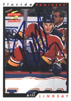 Bill Lindsay Florida Panthers 1996 Score Autographed Card. This item comes with a certificate of authenticity from Autograph-Sports. PSM-Powers Sports Memorabilia
