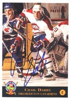 Craig Darby Fredericton Canadiens - Montreal Canadiens 1994 Classic Prospects Autographed Card - Rookie Card. This item comes with a certificate of authenticity from Autograph-Sports. PSM-Powers Sports Memorabilia