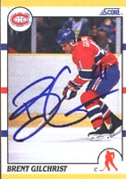 Brent Gilchrist Montreal Canadiens 1990 Score Autographed Card. This item comes with a certificate of authenticity from Autograph-Sports. PSM-Powers Sports Memorabilia
