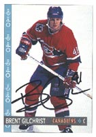Brent Gilchrist Montreal Canadiens 1992 Opee Chee Autographed Card. This item comes with a certificate of authenticity from Autograph-Sports. PSM-Powers Sports Memorabilia