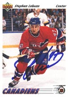 Stephan Lebeau Montreal Canadiens 1991 Upper Deck Autographed Card. This item comes with a certificate of authenticity from Autograph-Sports. PSM-Powers Sports Memorabilia