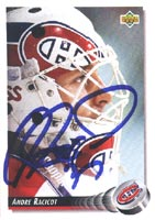 Andre Racicot Montreal Canadiens 1992 Upper Deck Autographed Card. This item comes with a certificate of authenticity from Autograph-Sports. PSM-Powers Sports Memorabilia