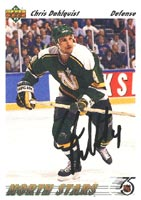 Chris Dahlquist Minnesota North Stars 1991 Upper Deck Autographed Card. This item comes with a certificate of authenticity from Autograph-Sports. PSM-Powers Sports Memorabilia