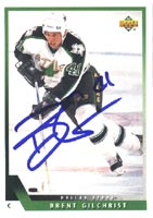 Brent Gilchrist Dallas Stars 1993 Upper Deck Autographed Card. This item comes with a certificate of authenticity from Autograph-Sports. PSM-Powers Sports Memorabilia