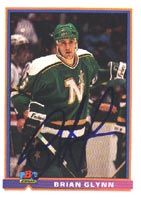 Brian Glynn Minnesota North Stars 1991 Bowman Autographed Card. This item comes with a certificate of authenticity from Autograph-Sports. PSM-Powers Sports Memorabilia