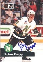 Brian Propp Minnesota North Stars 1991 Pro Set Autographed Card. This item comes with a certificate of authenticity from Autograph-Sports. PSM-Powers Sports Memorabilia