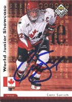 Cory Sarich Team Canada 1998 Upper Deck Choice Reserve World Jr. Showcase Autographed Card. This item comes with a certificate of authenticity from Autograph-Sports. PSM-Powers Sports Memorabilia