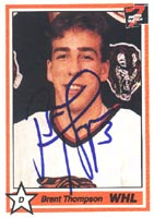 Brent Thompson Medecine Hat Tigers - WHL 1991 7th Inning Sketch Autographed Card - Rookie Card. This item comes with a certificate of authenticity from Autograph-Sports. PSM-Powers Sports Memorabilia