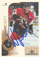 Wade Redden Ottawa Senators 2002 Upper Deck MVP Autographed Card. This item comes with a certificate of authenticity from Autograph-Sports. PSM-Powers Sports Memorabilia