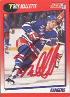 Troy Mallette New York Rangers 1991 Score Autographed Card. This item comes with a certificate of authenticity from Autograph-Sports. PSM-Powers Sports Memorabilia