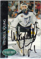Wendell Young Tampa Bay Lightning 1993 Parkhurst Autographed Card. This item comes with a certificate of authenticity from Autograph-Sports. PSM-Powers Sports Memorabilia