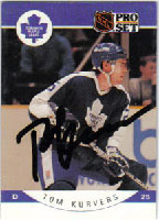 Tom Kurvers Toronto Maple Leafs 1990 Pro Set Autographed Card. This item comes with a certificate of authenticity from Autograph-Sports. PSM-Powers Sports Memorabilia