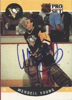 Wendell Young Pittsburgh Penguins 1990 Pro Set Autographed Card. This item comes with a certificate of authenticity from Autograph-Sports. PSM-Powers Sports Memorabilia