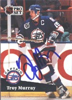 Troy Murray Winnipeg Jets 1991 Pro Set Captain Autographed Card. This item comes with a certificate of authenticity from Autograph-Sports. PSM-Powers Sports Memorabilia