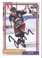 Troy Murray Winnipeg Jets 1992 Topps Autographed Card. This item comes with a certificate of authenticity from Autograph-Sports. PSM-Powers Sports Memorabilia