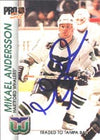 Mikael Andersson Hartford Whalers 1992 Pro Set Autographed Card. This item comes with a certificate of authenticity from Autograph-Sports. PSM-Powers Sports Memorabilia