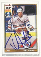 Tony Amonte New York Rangers 1992 Opee Chee Anniversary Series  Autographed Card. This item comes with a certificate of authenticity from Autograph-Sports. PSM-Powers Sports Memorabilia